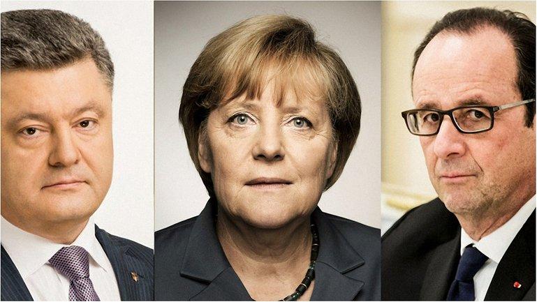 Меркель, Порошенко и Олланд обсудили Донбасс - фото 1