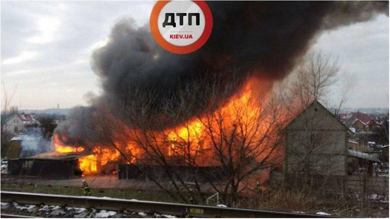 На Русановских садах вспыхнул пожар - фото 1