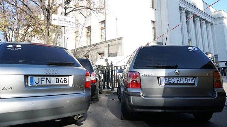 Евробляхеры снова перекрыли центр Киева - фото 1